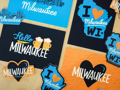 Milwaukee Products mke hand lettered design hand lettering community design wisconsin milwaukee postcards magnets stickers product launch product line