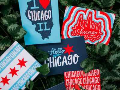 Chicago Style Postcards lettered design hand lettering hand drawn chicago skyline chicago hot dog chicago flag product photography postcards chicago style