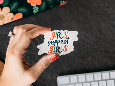 Girls Support Girls Sticker product photography die cut sticker hand lettering hand lettered design sticker female design feminist girls support girls girl power