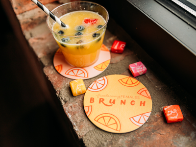 Freelancing Females Brunch - Custom Coasters custom illustration brand design photography branding brunch lettering coasters