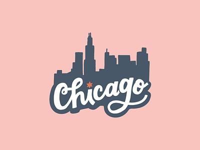 Chicago Skyline Lettering + Illustration ipad illustration ipad lettering sticker design chicago skyline hand lettered design illustration chicago lettering