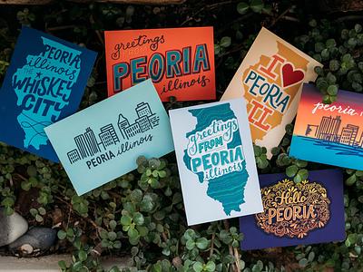 Peoria Postcards peoria made hello peoria peoria illinois hand lettered design hand lettering hand drawn postcards peoria