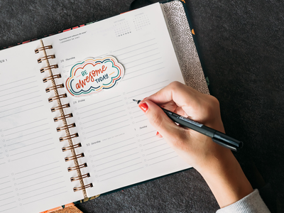Be Awesome Today Sticker new year planning product photography planner ipad lettering lettering art hand drawn sticker hand lettered design be awesome today