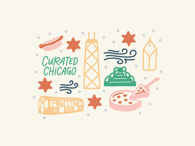Curated Chicago Custom Illustration branding brand graphics hot dog cta train buckingham fountain chicago pizza hand lettered design hand lettering hand drawn chicago curated chicago