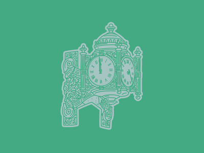 Marshall Field's Clock Illustration chicago icon clock lettering artist hand drawn 100 days of chicago illustration marshalls