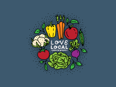 Love Local ipad illustration brand graphic branding graphic design custom design locally grown peoria grown vegetables illustration hand lettering healthy