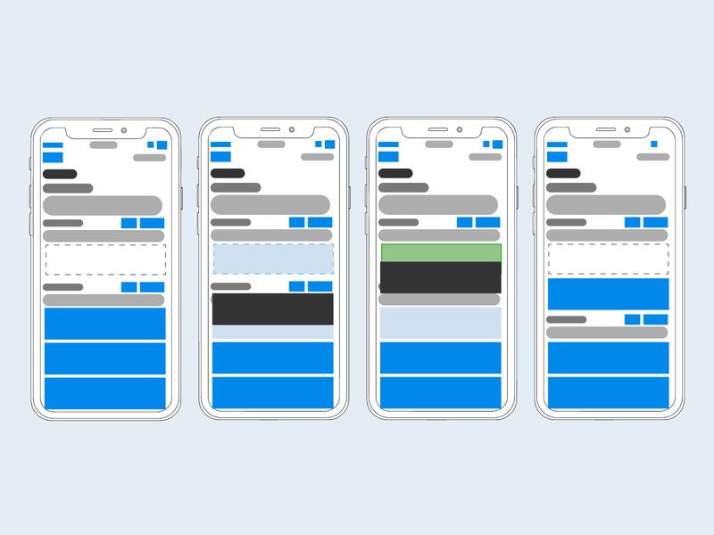 Mobile Drag and Drop Exploration mobile drag and drop prioritization concept exploration interaction wireframe lofiwireframe uxui ux blocking