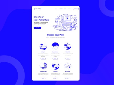 Travel Site Landing Page lineart travel agency wireframe prototype uidesign uxdesign uxui ux travel travelsite website landing page branding