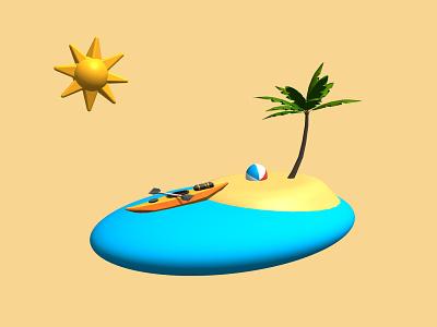 3d Beach Scene app ux ui onboarding illustration onboarding illustration 3d art 3d