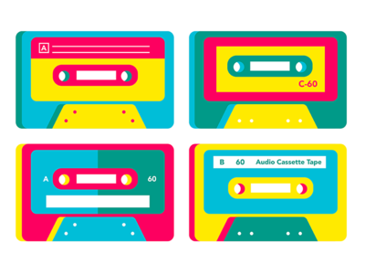 Cassette Player Illustration simplified cassette design ui illustration