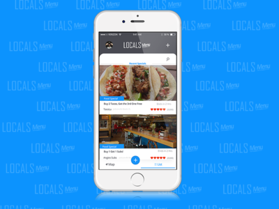 Locals Menu Application Design product interactive feed food menu prototype mobile material design iphone ios flat interface liquid refresh designer social network community user experience application ux ui app interface