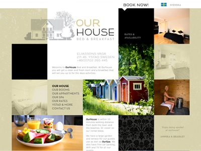 Our House Ystad B&B website identity digital