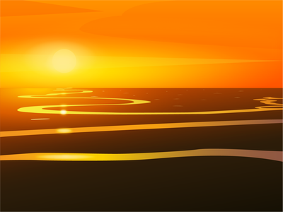 Long river sunset