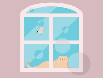 Quarantined bird cat flat design art vector illustration