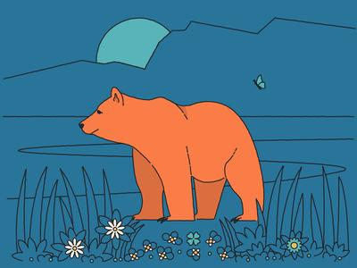 Bear butterfly animal landscape flowers bear line illustration illustrator plant flat design art vector illustration