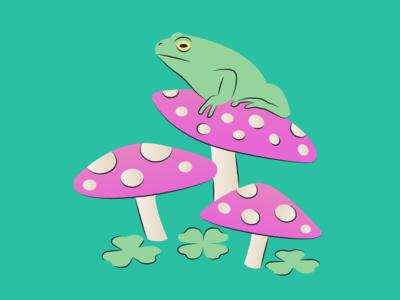 Frogs animal lotus lilypad mushroom pond frog line illustration water plant design art vector illustration
