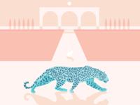 Jaguar & Jack Rabbit moon modern landscape design minimal jack rabbit jaguar animal illustration animal water flat design art vector illustration
