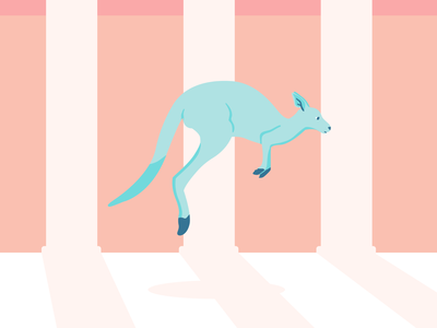Kangaroo shadow minimal kangaroo animal alphabet animal illustrator flat design art vector illustration