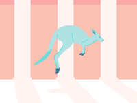Kangaroo shadow minimal kangaroo animal alphabet animal illustrator flat design art vector illustration