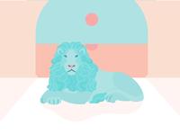 Lion cat sunset minimal animal alphabet animal lion design art vector illustration