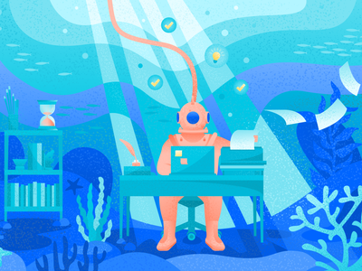 How to stay creative when you're under pressure atlassian diver ideas fish water under pressure underwater art vector blog illustration illustration editorial art editorial illustration