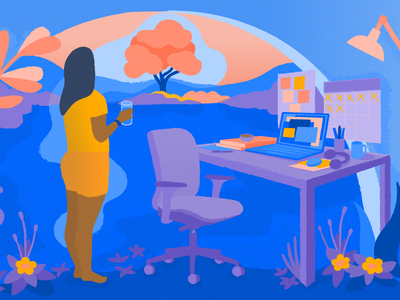 Is it time for a change of screen? article tech atlassian editorial blog illustration editorial illustration character illustration texture break remotework work from home office illustrator design art vector illustration