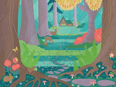 Autumn Woods outside nature texture poster autumn fall gnomes buck deer cabin forest woods illustrator art vector illustration