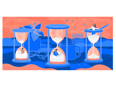 10 signs of deadline-driven development texture editorial illustration editorial art tech atlassian blog illustration relief work computer under pressure desk hourglass character illustration illustrator design art vector illustration