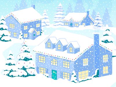Let it snow! houses cozy christmas neighborhood snow winter illustrator design art vector illustration