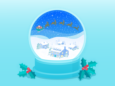 Santa Snowglobe magic holly merrychristmas town christmas card christmas snowglobe reindeer santa sleigh santaclaus santa character illustration art vector illustration