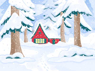 Stay Cozy texture christmas cabin trees snow forest january winter illustrator design art vector illustration
