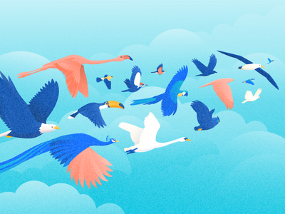 Birds of a feather flock together texture animals editorial art blog tech atlassian blog illustration editorial illustration eagle parrot flying flock birds illustrator design art vector illustration