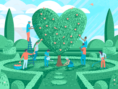 Practicing gratitude as a team teamwork tech atlassian tree blog illustration love heart gardening topiary texture editorial illustration character illustration illustrator design art vector illustration