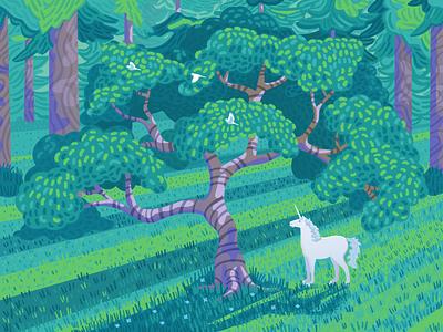 Unicorn birds storybook tree fantasy woods forest unicorn illustrator design art vector illustration