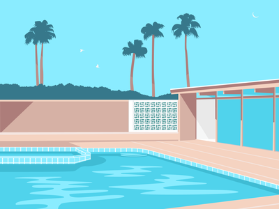 Poolside relaxing mid century modern california palm springs palm trees swimming pool pool water illustrator flat design art vector illustration