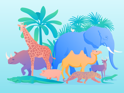 Animals leopard alligator giraffe elephant zoo plant tropical design vector illustration art illustration illustrator animals