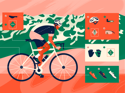 Cycling gear sports tour de france cyclist bike blog post blog illustration atlassian editorial illustration texture character illustration illustrator flat design art vector illustration