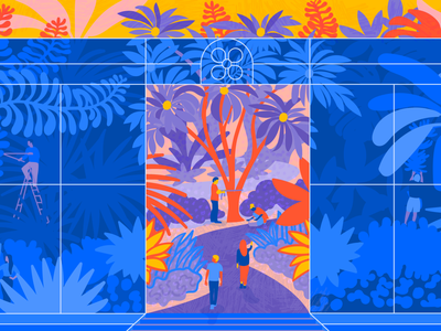 Homegrown innovation teamwork conservatory greenhouse editorial blog worklife atlassian blog illustration editorial illustration plant tropical character illustration illustrator design art vector illustration