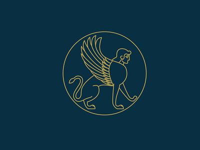 Sphinx line illustration icon egyptian logo branding design art vector illustration