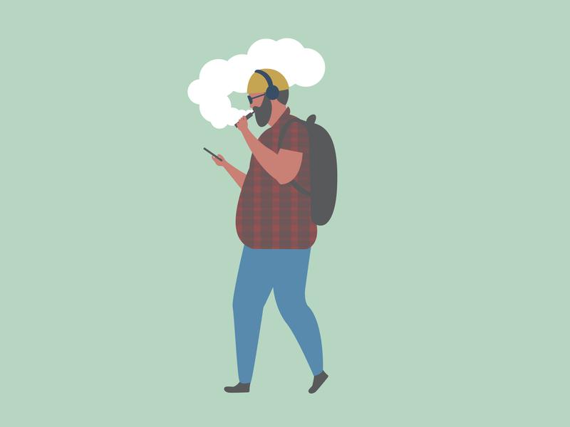 Vaping Seattle Tech Guy characterdesign character illustrator flat design art vector illustration