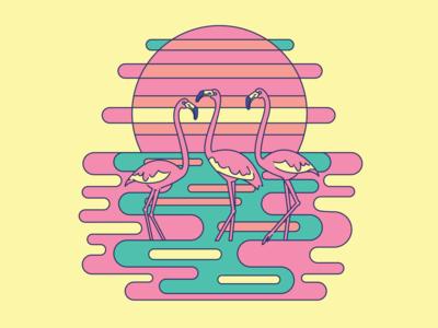 Psychedelic Flamingos logodesign line illustration lineart logo color flamingo pink water tropical art design vector illustration psychedelic