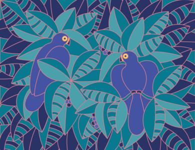 Love Birds love birds illustrator line illustration plant tropical flat design art vector illustration