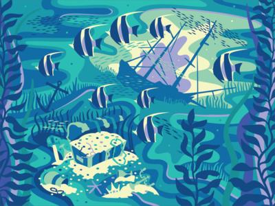 Booty digital illustration digital illustrator digital art ship fish pirate booty shipwreck treasure dreamy underwater illustrator water flat design art vector illustration