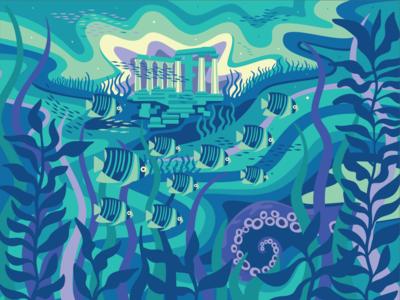 Poseidon's Lair design water vector dreamy color digitalart illustration art tropical fish octopus poseidon ancient ruins underwater illustration illustrator