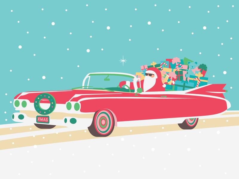 Santa Claus is Comin' to Town chirstmas illustration santaclaus holiday card holiday presents cadillac christmas santa character illustration flat design art vector illustration