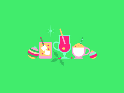 Christmas Cocktails celebrate holiday festive drinks christmas cocktails flat design art vector illustration