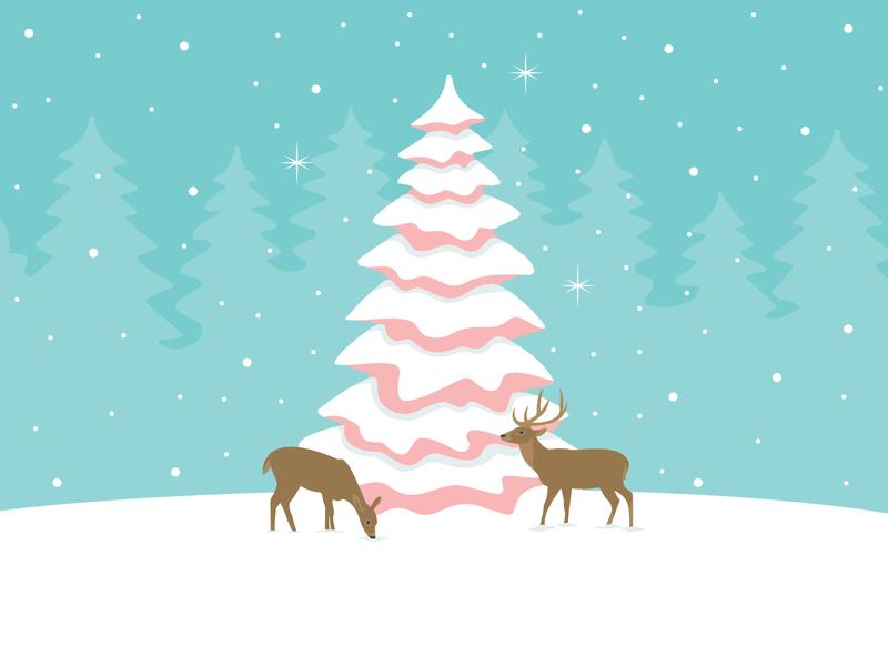 Christmas Spirit christmas design christmas card christmas spirit christmas forest animals winter deer forest trees snow illustrator design art vector illustration