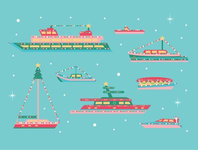 Christmas Ships vector christmas card christmas illustration illustration santa christmas lights boats ships christmas