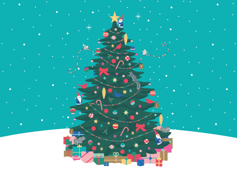 Merry Christmas! flowers ornaments birds forest christmas tree elves elf gnomes christmas illustration christmas card christmas design art vector illustration