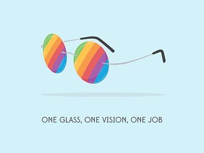 ONE GLASS, ONE VISION, ONE JOB vector illustration stevejobs apple